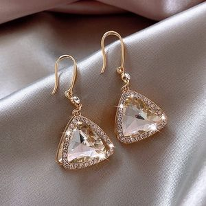 2/$20! Gold Crystal Triangle Pave Overlay Earrings